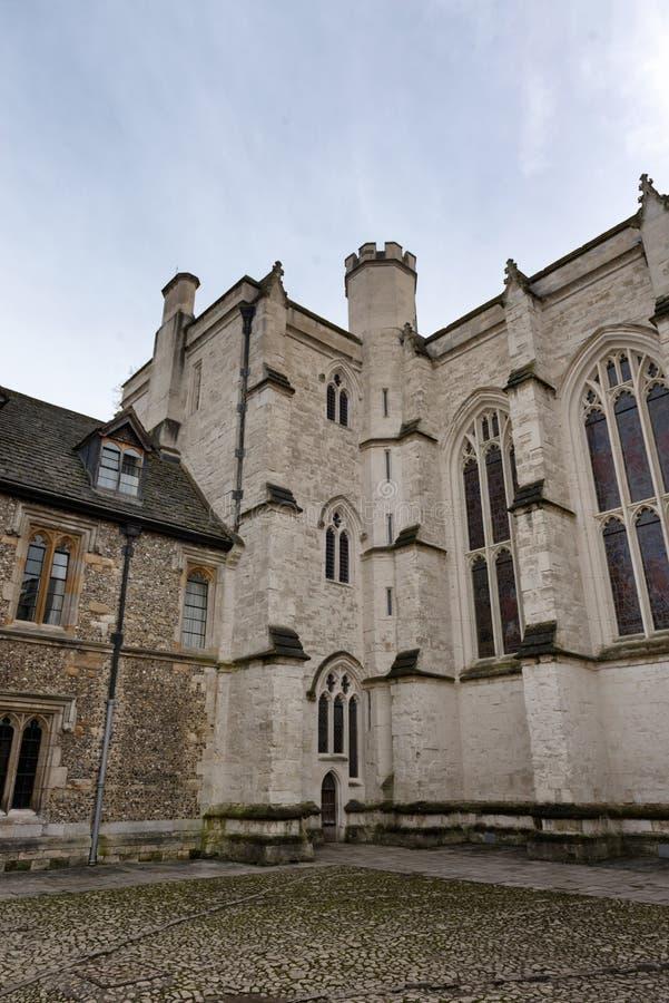 Exterior da capela da faculdade de Winchester, Reino Unido fotos de stock