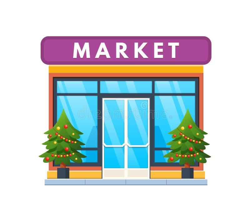 Exterior da fachada da construção do mercado do inverno, na véspera do feriado do Natal ilustração stock