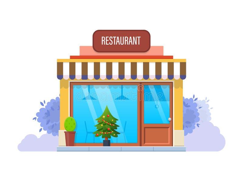 Exterior da fachada do inverno do restaurante, na véspera do feriado do Natal ilustração do vetor