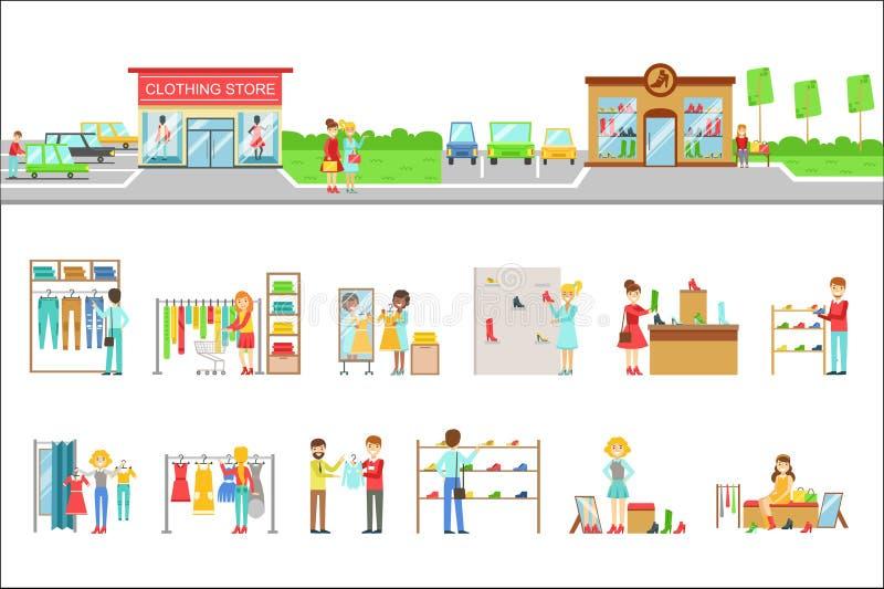 Exterior da loja de roupa e grupo de compra dos povos de ilustra??es ilustração stock
