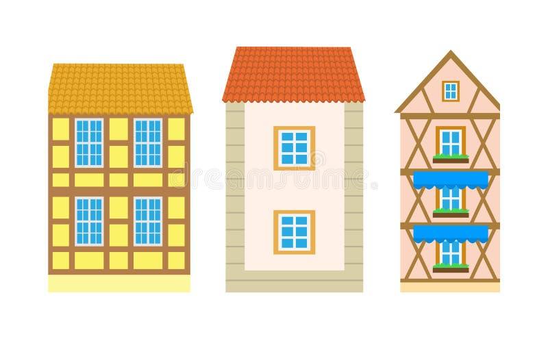 Exterior da residência ou da casa de campo, vetor de construção ilustração do vetor