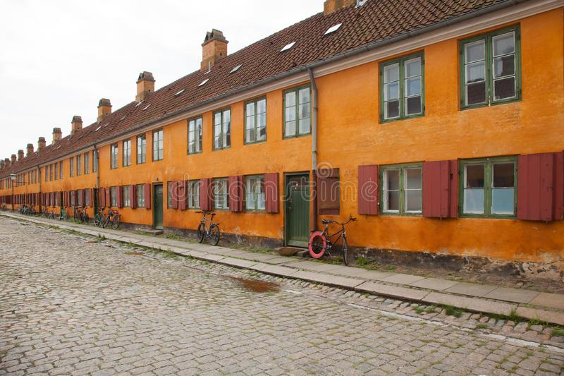 Exterior of Danish antique houses stock photography
