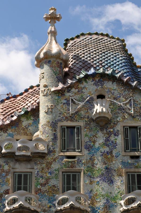 Exterior das casas Batllo em Barcelona, Spain foto de stock royalty free