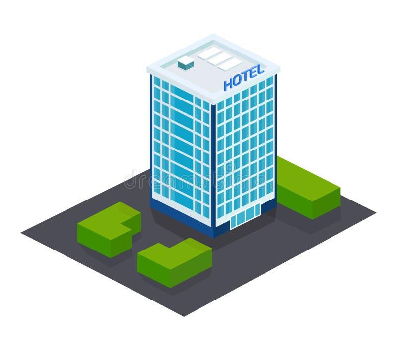 Exterior de la fachada, edificio del hotel, con el territorio adyacente, paisaje libre illustration