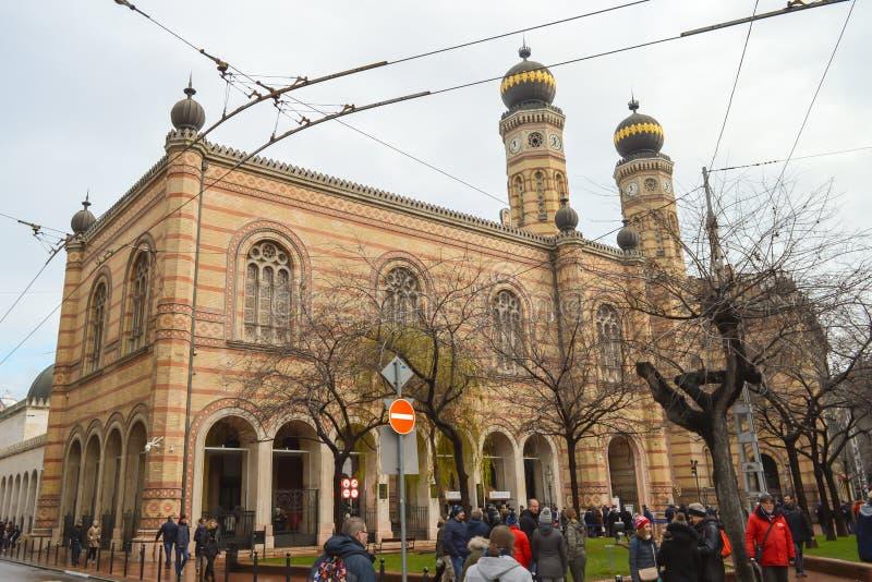 Exterior de la gran sinagoga central en Budapest el 31 de diciembre de 2017 fotos de archivo libres de regalías