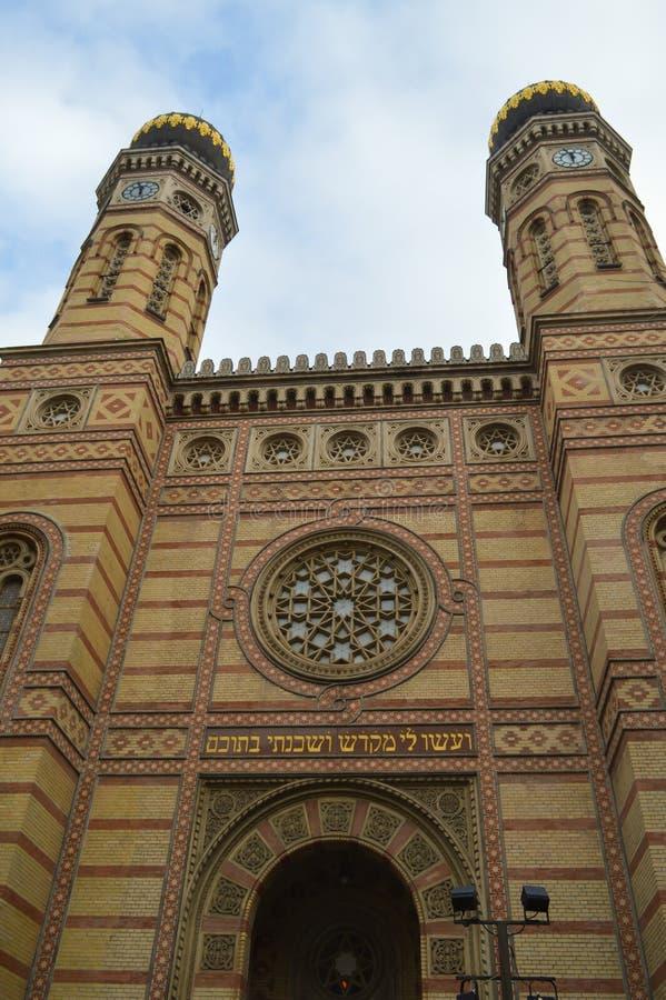 Exterior de la gran sinagoga central en Budapest el 31 de diciembre de 2017 imágenes de archivo libres de regalías