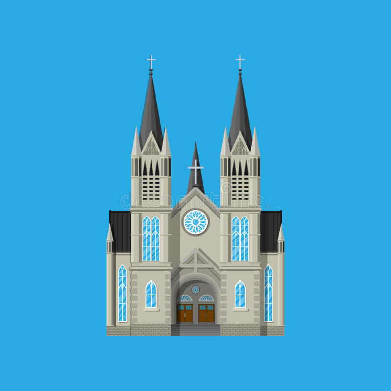 Exterior de la iglesia católica o protestante stock de ilustración