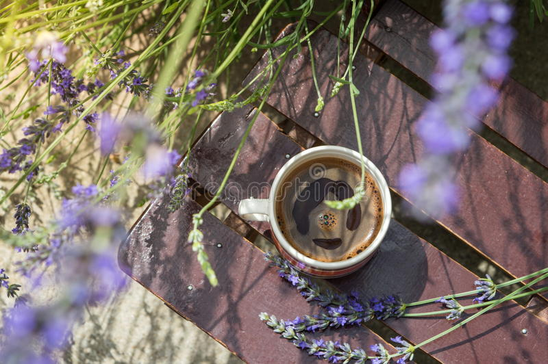 Exterior de la taza de café rodeado por la lavanda foto de archivo libre de regalías
