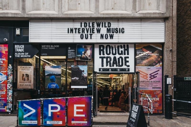 Exterior de la tienda y del lugar de la música de Rough Trade en el carril del ladrillo, Londres del este, Reino Unido fotos de archivo