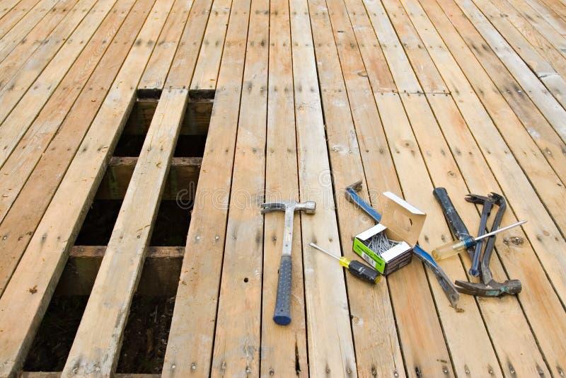 Exterior deck repair stock image