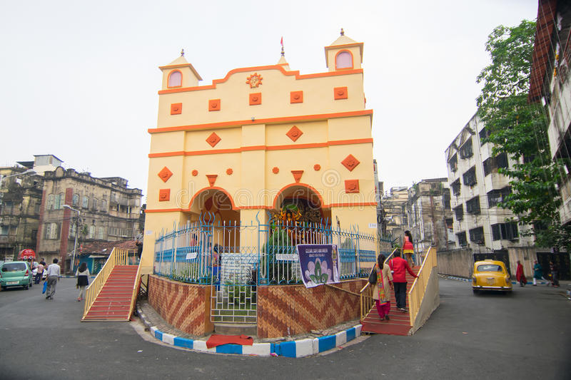 Exterior of decorated durga puja pandal at kolkata west bengal download exterior of decorated durga puja pandal at kolkata west bengal india thecheapjerseys Images