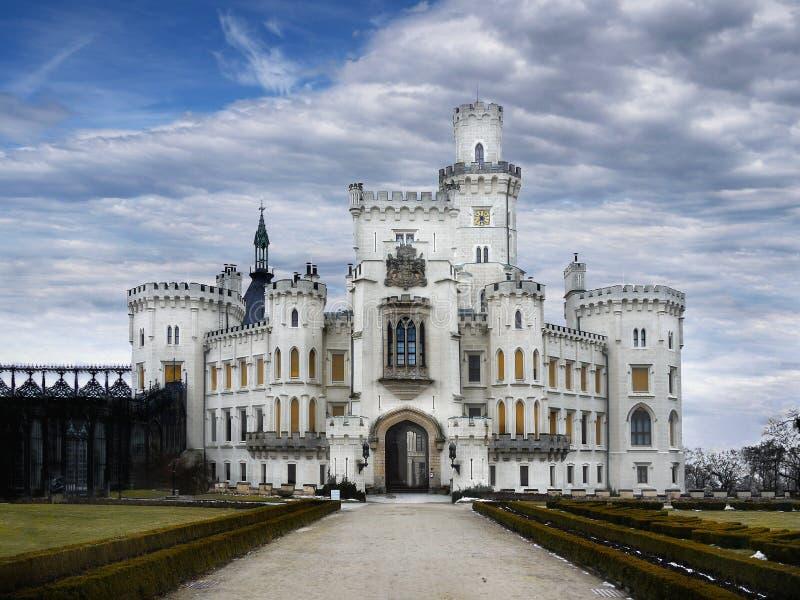 Exterior del cuento de hadas de la señal de Hluboka del castillo fotografía de archivo