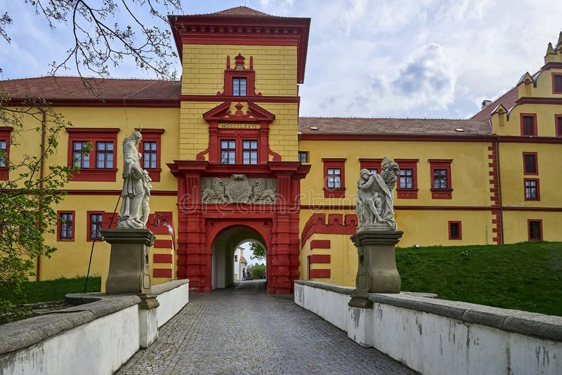 Exterior del detalle del castillo Trebic, sitio de la UNESCO fotografía de archivo