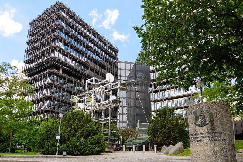 Exterior del edificio moderno de la Oficina Europea de Patentes fotografía de archivo libre de regalías
