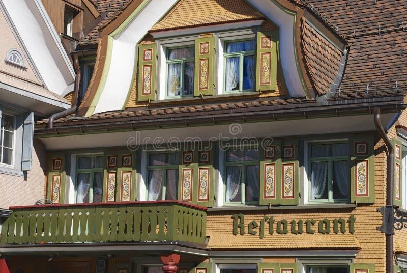 Exterior del edificio tradicional, Appenzell, Suiza fotografía de archivo