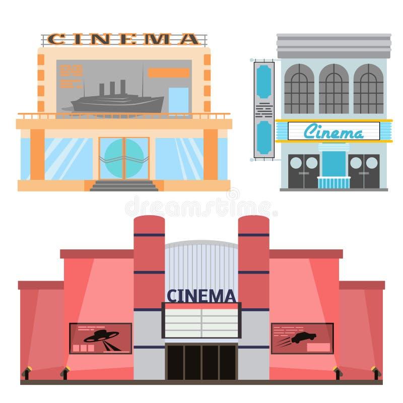 Exterior del teatro de la arquitectura de la casa de la ciudad del entretenimiento de la película de la fachada del ejemplo del v ilustración del vector