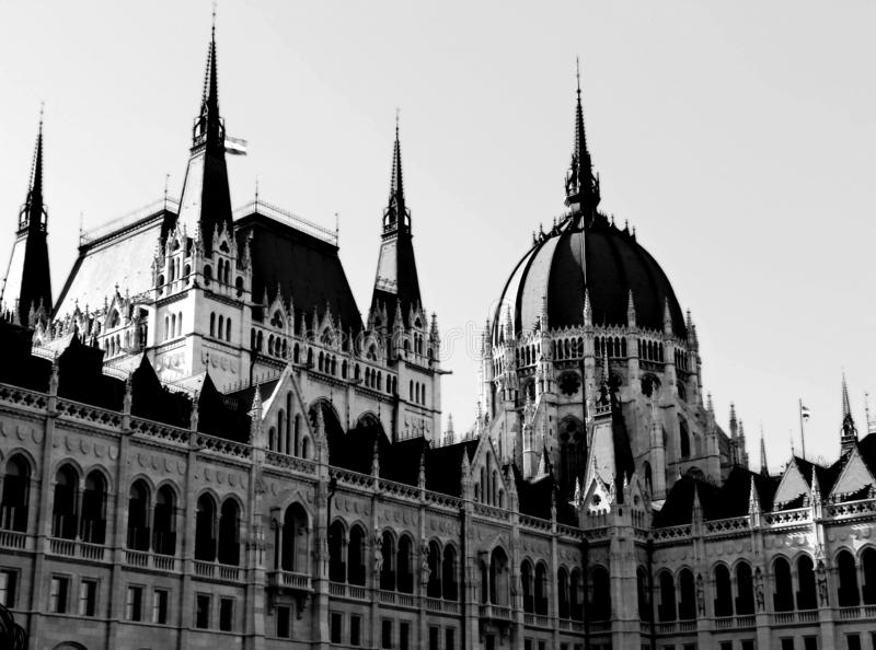 Exterior detail of the Hungarian Parliament in Budapest in monochrome stock photography