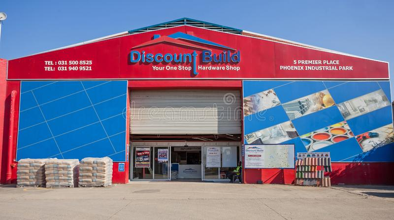 Exterior of DIY store. Building supplies store stock photography