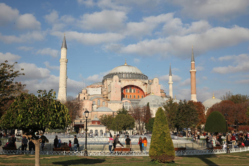 Exterior do Hagia Sophia - Aya Sophia igualmente chamada, em Istambul, Turquia imagens de stock royalty free