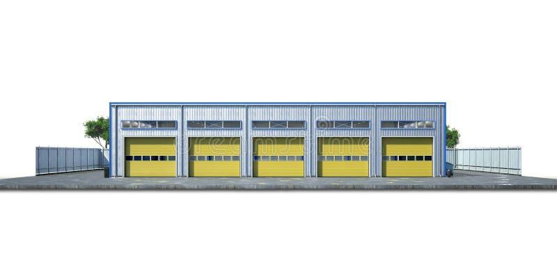 Exterior do hangar no fundo branco ilustração royalty free