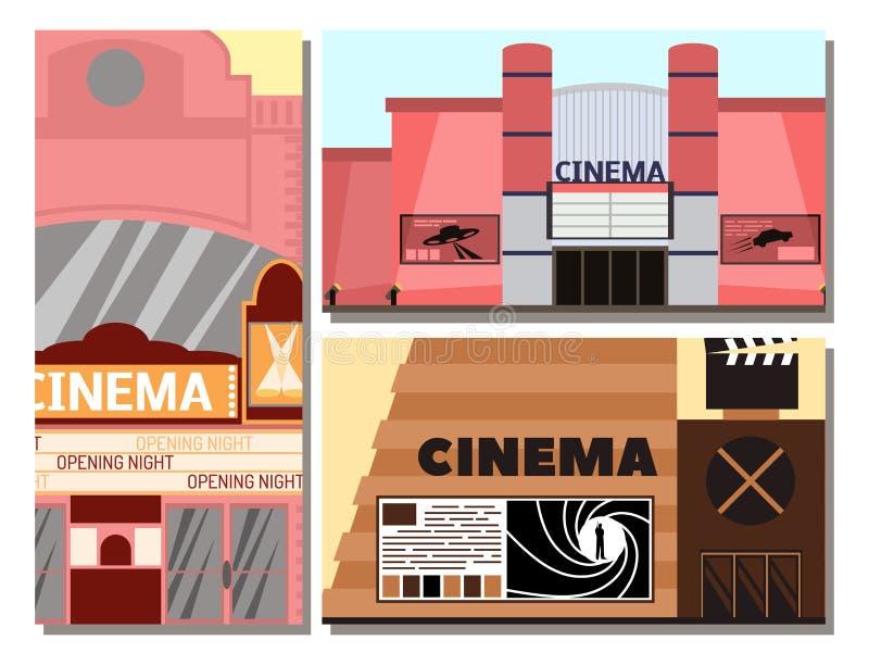 Exterior do teatro da arquitetura da casa da cidade do entretenimento do filme da fachada da ilustração do vetor da construção do ilustração stock