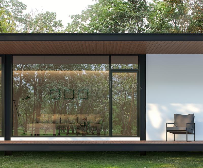 Exterior do terraço moderno da casa no jardim 3d para render ilustração royalty free