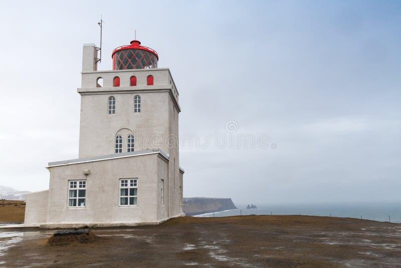 Exterior of Dyrholaey lighthouse, Iceland. Exterior of Dyrholaey lighthouse, South coast of Iceland island stock photo