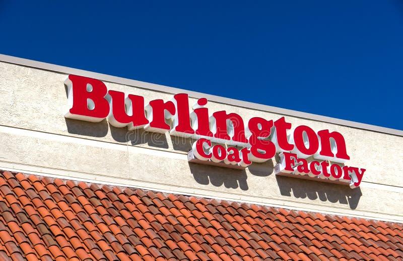 Exterior e logotipo de Burlington Revestimento Fábrica Armazém Corporaçõ fotos de stock
