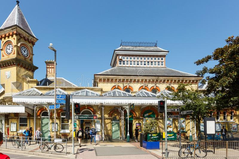 Exterior of the Eastbourne train station, United Kingdom. Eastbourne, United Kingdom - AUGUST 1, 2017: facade of the Eastbourne train station in summer sunny day royalty free stock images
