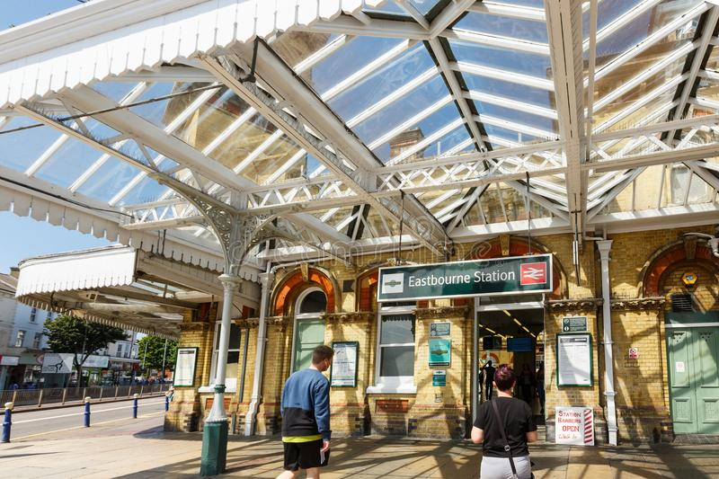 Exterior of the Eastbourne train station, United Kingdom. Eastbourne, United Kingdom - AUGUST 1, 2017: facade of the Eastbourne train station in summer sunny day stock photos