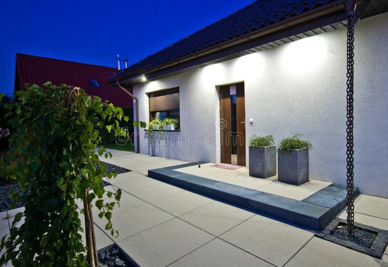 Exterior of a modern house with elegant architecture stock photo