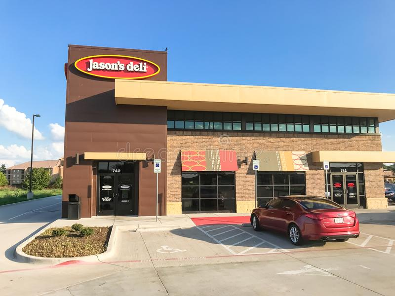 Exterior entrance of Jason Deli restaurant chain in Lewisville,. LEWISVILLE, TX, US-SEPT 13, 2018:Facade entrance of Jason Deli, family owned fast casual stock images