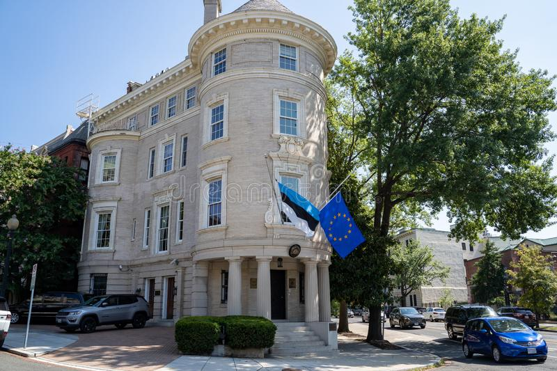 Washington, DC - August 8, 2019: Exterior of the Estonia Embassy along Embassy Row in Dupont Circle of Washington DC. Exterior of the Estonia Embassy along royalty free stock images