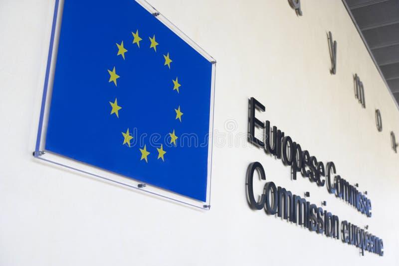 Exterior Of European Commission Building. And EU flag stock photos