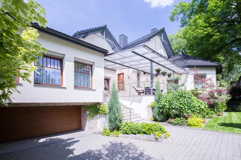 Exterior of exclusive residence. In the suburbs stock photos