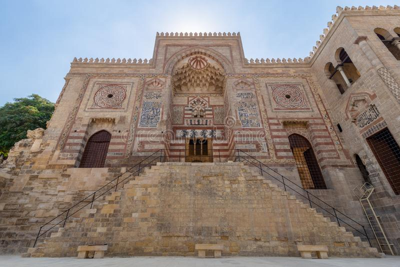 Facade of Al-Muayyad Bimaristan Hospital historic building, Darb Al Labana district, Old Cairo, Egypt. Exterior facade of Al-Muayyad Bimaristan Hospital historic stock photography