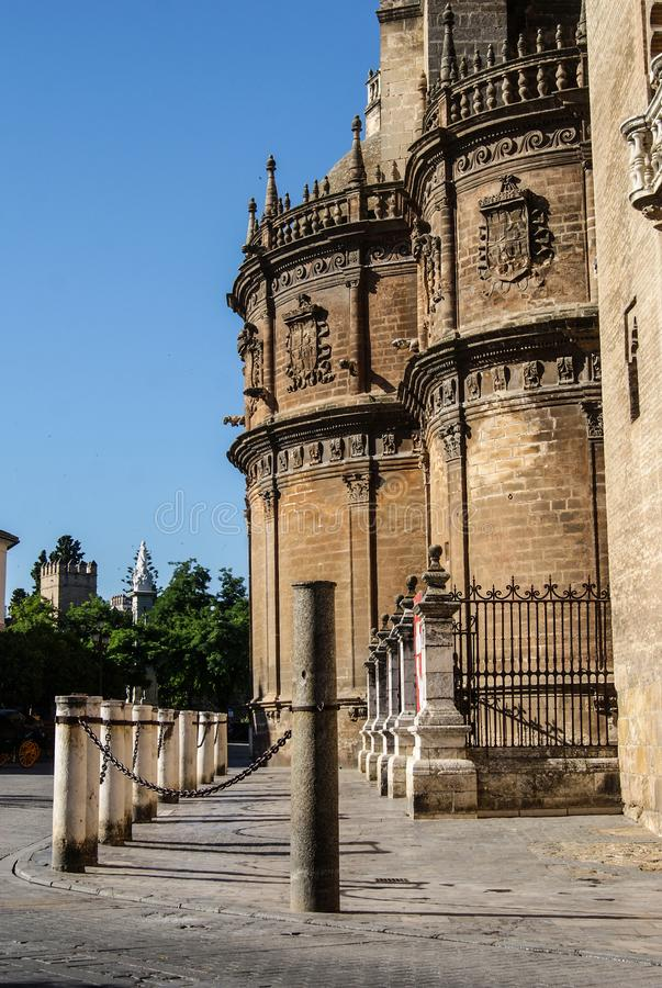 Exterior facade of the Cathedral of Seville stock photos