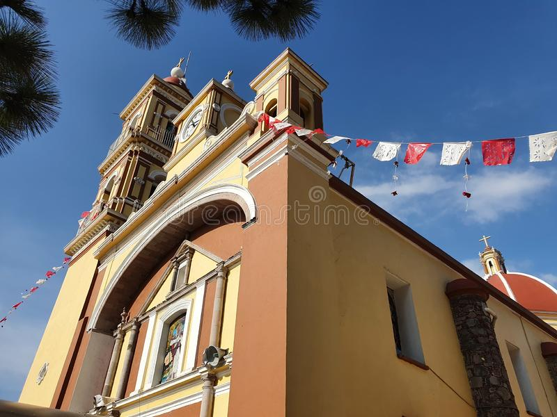 Exterior facade of a catholic church in Toluca, Mexico. Religious, religion, history, historic, construction, architecture, tradition, outdoor royalty free stock photography