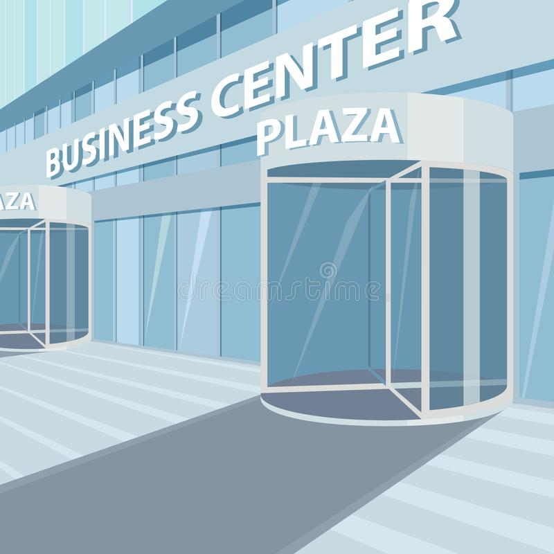 Exterior of facade of glass office business center vector illustration