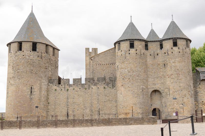 Exterior fortress castle in Carcassonne Aude France royalty free stock images