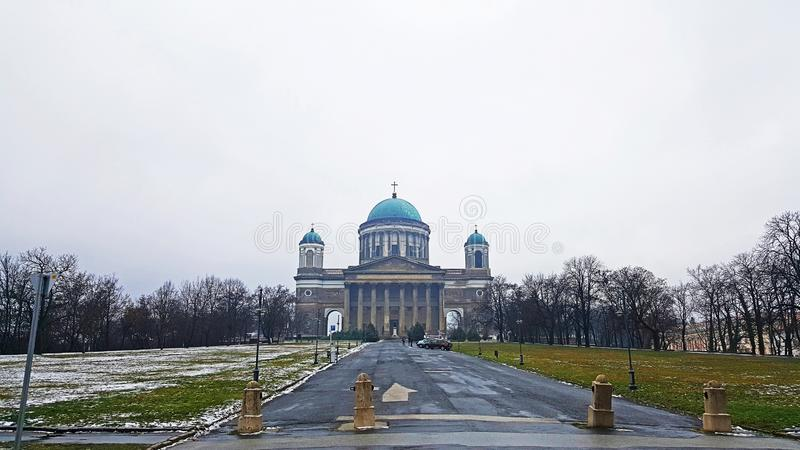 An exterior front panoramic view of Esztergom Basilica royalty free stock photo