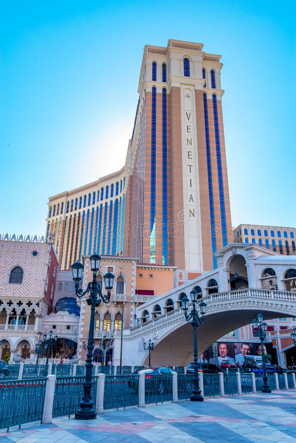 The exterior front of the Venetian Hotel and Casino royalty free stock images
