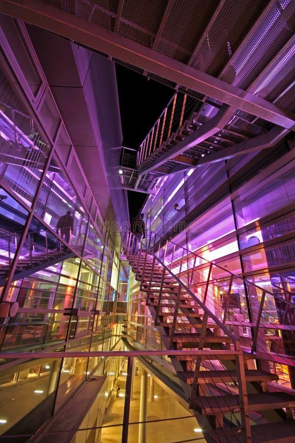 Exterior of a futuristic building stock images
