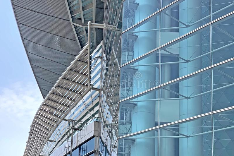 Exterior  glass window of modern exhibition center building in Hong Kong city royalty free stock photo