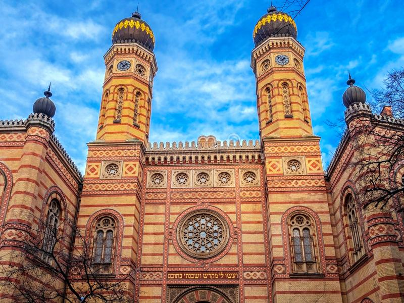 Great Synagogue in Dohany Street, Budapest, Hungary. Exterior of the Great Synagogue in Dohany Street, Budapest, Hungary, the largest synagogue in Europe and the royalty free stock photos