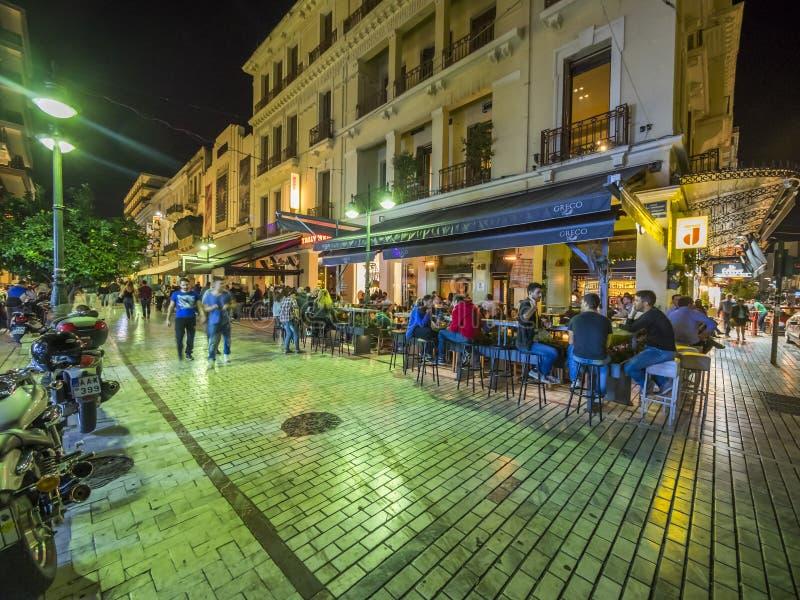 Exterior grego do restaurante e da barra foto de stock