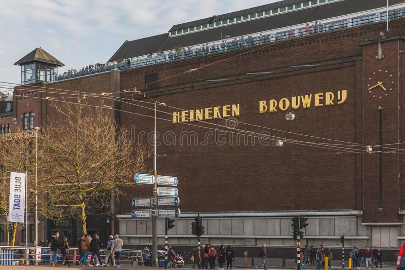 Exterior of the Heineken Brewery building in downtown Amsterdam. Amsterdam, the Netherlands - March 5, 2017: exterior of the Heineken Brewery building in royalty free stock image