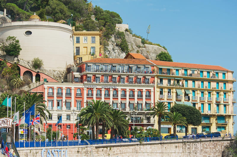 Exterior of the historical buildings and Hotel Suisse in Nice, France. stock photo