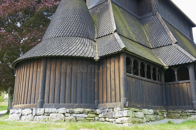 Exterior of the Hopperstad stave church in Vik, Norway. VIK, NORWAY - JUNE 06, 2012: Exterior of the Hopperstad stave church on June 06, 2012 in Vik, Norway stock photography