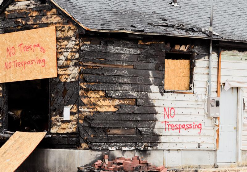 Aftermath of a house fire royalty free stock image